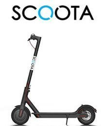 Scoota Scooter hire logo with picture of one of their scooter