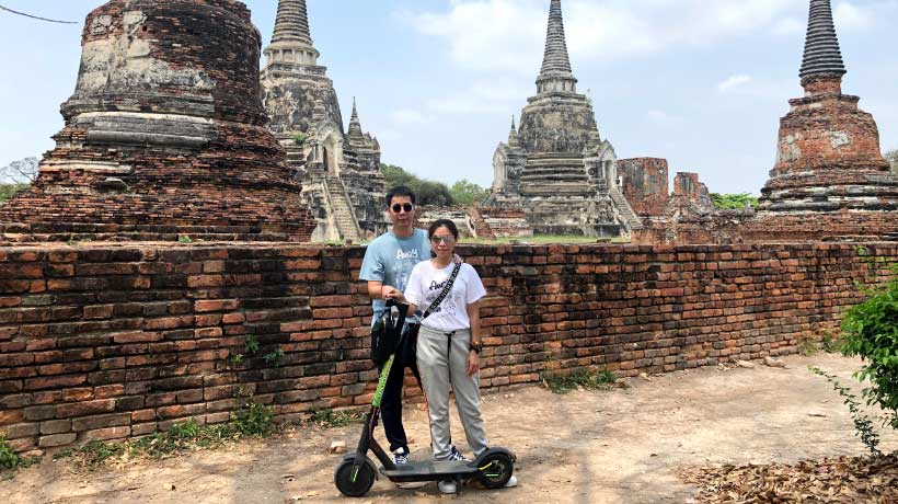Outside_Wat_Phra_Si_Sanphet_on_an_E_Scooter_Tour