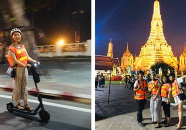 Two Photographs of a night scooter tour of Bangkok, one outside Wat Arun - the temple of Dawn and the other scooting