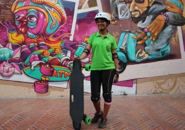 See street art on a electric skateboard