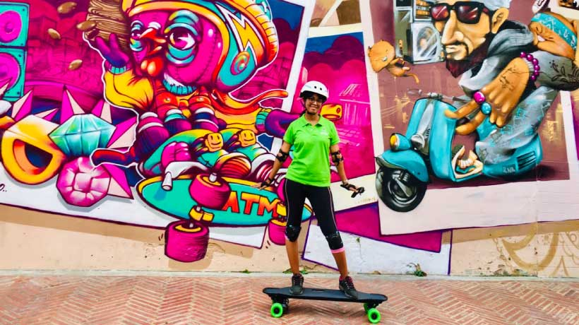Skateboard with Street Art in the background
