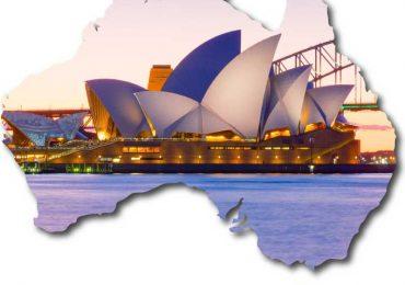 Map of Australia with Sydney Opera House
